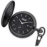 """Product review of Speidel Classic Brushed Satin Black Engravable Pocket Watch with 14"""" Chain, Black Dial, Date Window, and Seconds Sub-Dial"""