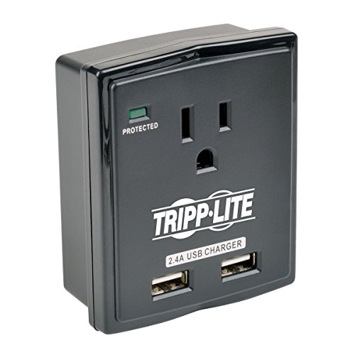 Tripp Lite 1 Outlet Portable Surge Protector Power Strip, Direct Plug in, 2 USB, $5,000 Insurance (SK10USB)