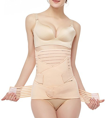 Postpartum Belly Wrap 3 in 1 Post Partum Support Girdles C-Section Recovery Belly Waist Pelvis Wrap Postnatal Trainer Belt Nude