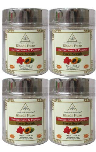 412H0 MCGZL - Khadi Pure Herbal Rose & Papaya Face Scrub, 50 g (Pack of 4)
