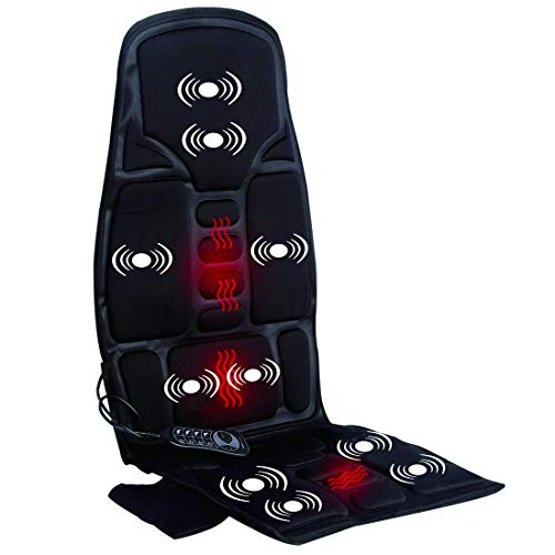 Car Seat Massager, Sotion Chair Massager, Back Massager Chair Pad Cushion with Heat, 10-Motor Vibrating & Heating Therapy to Relieve Stress and Fatigue for Back, Shoulder and Thighs
