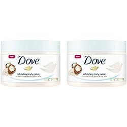 Dove Exfoliating Body Polish Body Scrub Macadamia & Rice Milk 10.5 oz (2 pack)