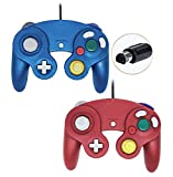 Poulep Wired Controller For Gamecube Game Cube, Classic Ngc Gamepad Joystick For Wii Nintendo Console (Blue and Red,Pack Of 2)