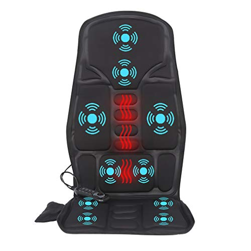 IDODO Vibration Back Massage Cushion, Massager Chair Pad with Heat, 10 Vibrating Motors & Heating Therapy to Release Stress and Fatigue for Car Use, Home or Office
