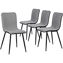 Set of 4 Kitchen-Dining Chairs, Assemble All 4 in 5 Minutes, Grey Ventilate Fabric Cushion, Black Washable PU Back and Metal Legs Living Room Side-Chairs
