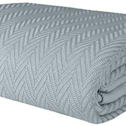 Threadmill Home Linen Queen Blanket – Soft Herringbone Cotton Throw Blanket, Smooth 100% Long Staple Cotton, Warm…