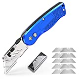 Folding Box Cutter Utility Knife Utility Pocket Knife Box Cutter Knives with 11 Replaceable Blades, Belt Clip, Easy Release Button, Quick Change and Lock-Back Design -Tdbest