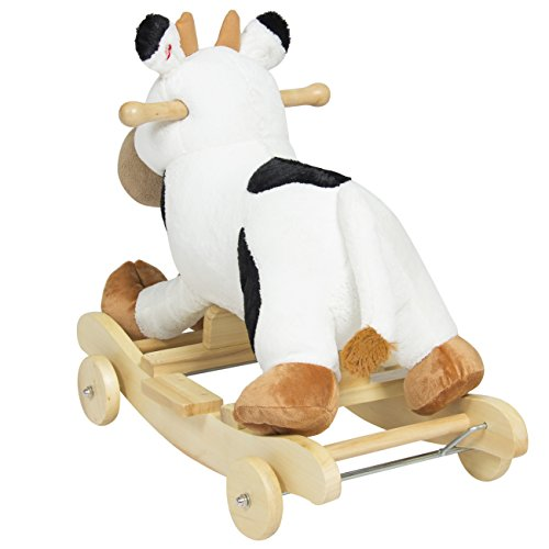 best choice products kids ride on plush cow animal rocker w wheels