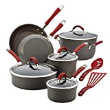 Rachael Ray 87630 Cucina Hard Anodized Nonstick Cookware Pots and Pans Set, 12 Piece, Gray with Red Handles