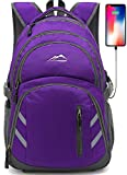 Backpack Bookbag For School College Student Laptop Travel Business With USB Charging Port Laptop Compartment Luggage Straps Anti theft Night Light Reflective (Purple)