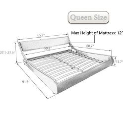 Amolife Modern Queen Platform Bed Frame with Adjustable Headboard,Mattress Foundation Deluxe Solid Faux Leather Bed Frame with Wood Slat Support (White with Black Border, Queen)