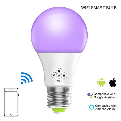 Magic Hue Smart WiFi Light Bulb, No Hub Required, A19 E26 Smartphone App Control Multicolored Dimmable Light Bulb, Compatible with Alexa Google Home and Siri Shortcut