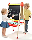 TOP BRIGHT Wooden Kids Art Easel Paint,Toddler Easel Adjustable with Paper Roll,Child Easel with Magnetic Chalkboard