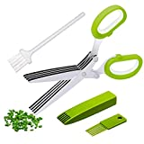 Multipurpose Herb Scissors and Herb Stripper Set - Kale and Herb Razor Stripping Tool, 5 Blade Herb Shears with Cover,Cleaning Comb and Brush - Cutter, Chopper, Mincer for Herb by Oojdzoo