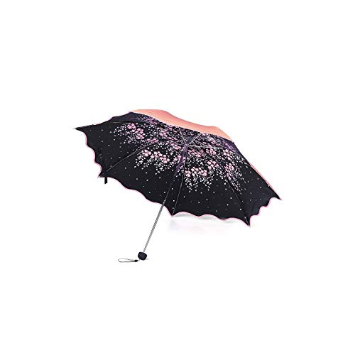 Flower Umbrella Rain Women Windproof Triple Folding Rain Sun Umbrella Waterproof UPF 50+UV Protection Portable Travel Umbrellas,Red