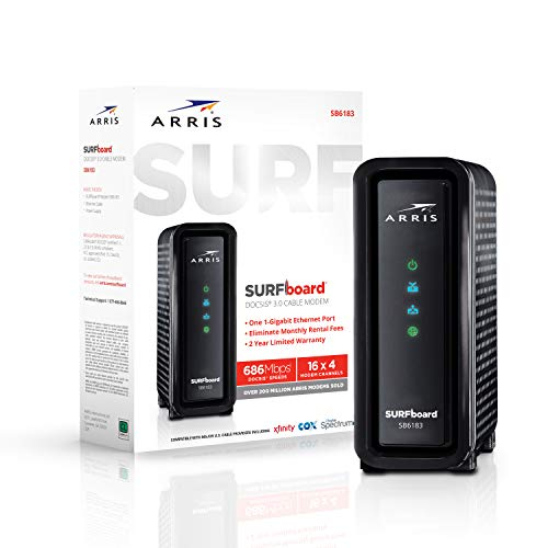 ARRIS Surfboard (16x4) DOCSIS 3.0 Cable Modem, 686 Mbps Max Speed, Certified for Comcast Xfinity, Spectrum, Cox, Cablevision & More (SB6183 Black)