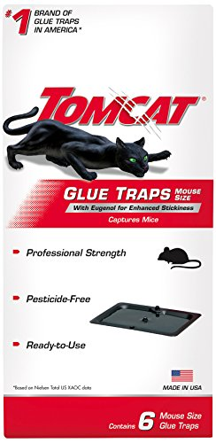 Tomcat Mouse Glue Traps w/Eugenol for Enhanced Stickiness - 6 Pack | Captures Mice & Other Household Pests | Professional Strength, Pesticide-Free, Ready-to-Use