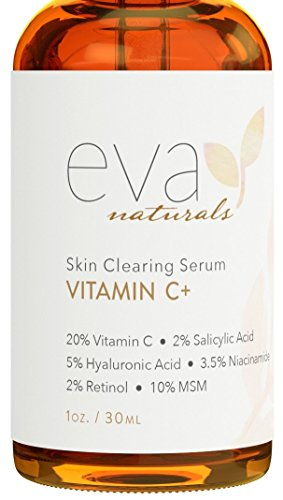 Vitamin C Serum Plus 2% Retinol, 3.5% Niacinamide, 5% Hyaluronic Acid, 2% Salicylic Acid, 10% MSM, 20% Vitamin C – Skin Clearing Serum – Anti-Aging Skin Repair, Supercharged Face Serum (1 oz)