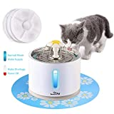 Cat Water Fountain Stainless Steel, Intelligent Power Off 81oz/2.4L Automatic Pet Fountain Dog Water Dispenser with 3 Replacement Filters & 1 Silicone Mat for Cats, Dogs, Multiple Pets (with Flower)