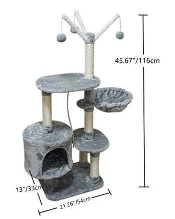 MIAO-PAW-Cat-Tree-Tower-Condo-Sisal-Post-Scratching-Furniture-Activity-Center-Play-House-Cat-Bed-Grey