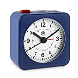 Marathon CL030065BL-WH2 Mini Travel Alarm Clock. No Ticking, Auto Back Light and Snooze Function. Color-Blue Case/White Dial