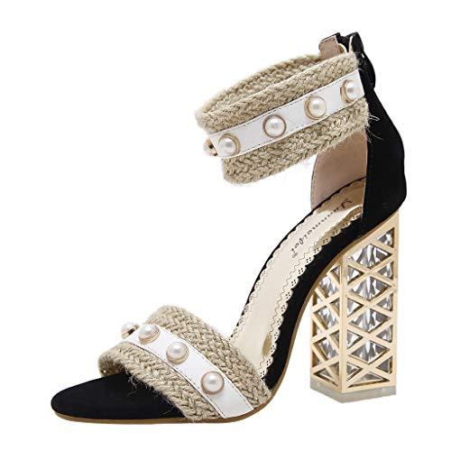 MmNote Women Shoes, Women's Pearls Hundreds Retro National Characteristics Gorgeous Fashion Stilettos Sandal Black