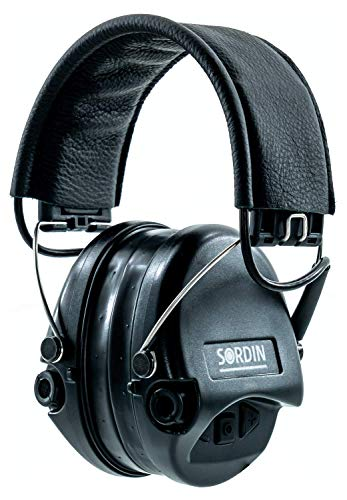 Sordin-Supreme-PRO-Active-Safety-Earmuffs-Adjustable-Hearing-Protection-with-Gel-Seals-Black-Leather-Headband-and-Cups
