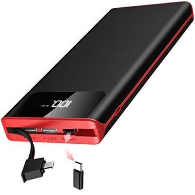 Power Bank 25000mAh Caricabatterie Portatile con Built-in Cavo Batteria Esterna con Display LCD Digitale e 3 Porte USB & per Smartphone, a ltri dispositivi Type-C e Android