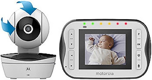 Motorola Digital Video Baby Monitor MBP41S with Video 2.8 Inch Color Screen, Infrared Night Vision, with Camera Pan, Tilt, and Zoom
