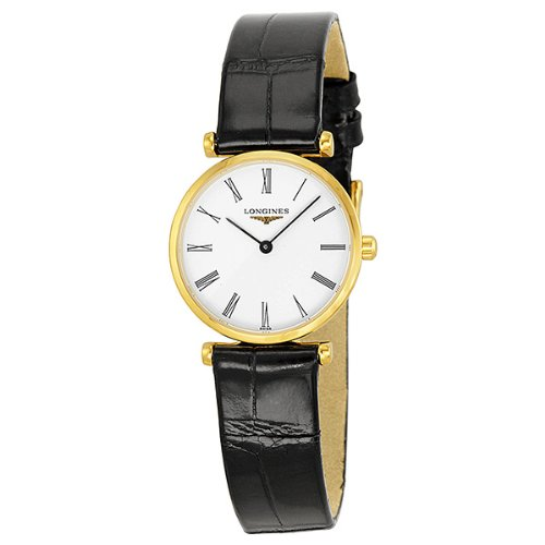 413%2BGI4K2FL Gold plated case Black crocodile leather band White roman numeral dial