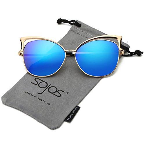 625c82acc9 SojoS Fashion Cat Eye Style Metal Frame Women Sunglasses Lady Glasses SJ3163