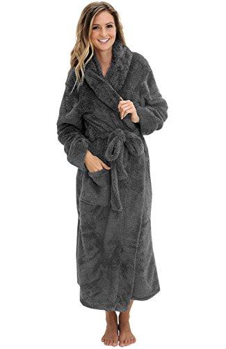 Alexander Del Rossa Womens Fleece Robe, Long Plush Hooded Bathrobe, Small Medium Steel Gray (A0304STLMD)