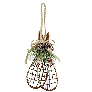 Christmas Cabin Snowshoe Ornament Evergreen Pine Cones 3402501 Raz