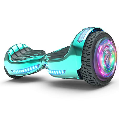 Hoverboard UL 2272 Certified Flash Wheel 6.5' Wireless Speaker with LED Light Self Balancing Wheel Electric Scooter (Chrome Turquoise)