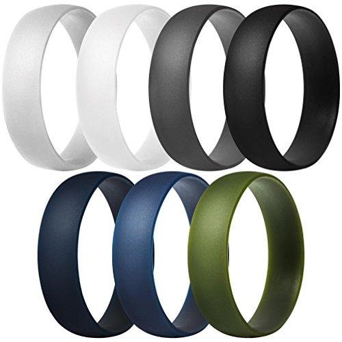 ThunderFit Silicone Rings, 7 Pack / 1 Ring Wedding Bands for Men & Women 6mm Wide (Dark Grey, Light Grey, White, Black, Dark Teal, Dark Blue, Dark Olive Green, 15.5-16 (24.5mm))