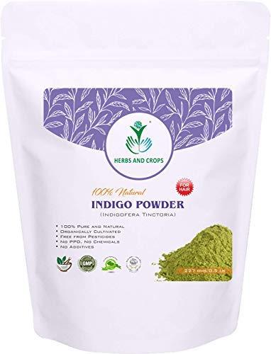 Herbs And Crops 100% Pure Natural Organically Grown Indigo Powder- For HAIR (227g / (1/2 lb) / 8 ounces)
