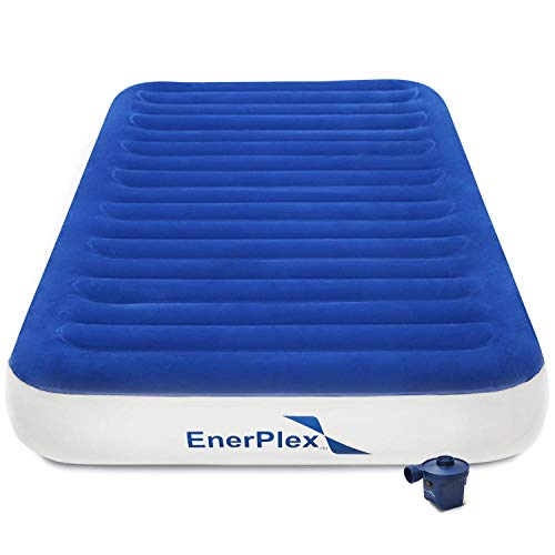 EnerPlex Never Leak 2019 Luxury Twin Size Air Mattress Twin Camping Airbed with High Speed Wireless Pump Single High Inflatable Blow Up Bed for Home Camping Travel 2-Year Warranty