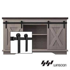 WINSOON 6FT Super Mini Barn Door Hardware Kit for Sliding Double Doors Small TV Stands Wardrobe Cabinets, I Shape Hanger…