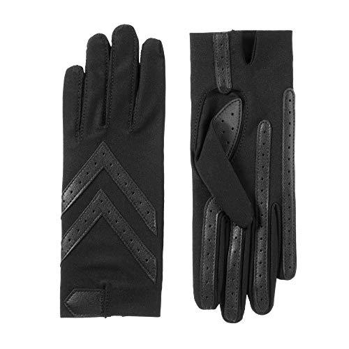 Isotoner Women's Spandex Shortie Gloves with Leather Palm Strips, smartDRI Black, S/M