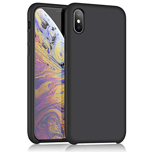 iPhone X Silicone Case,XSN Gel Rubber Ultra Thin Case Soft Microfiber Cloth Lining Cushion for Apple iPhone X (2017) 5.8 Inch (Black)