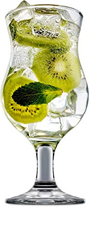 Circleware 44590 Caribbean Daiquiri Wine Beer Glasses, Set of 4, Kitchen Entertainment Dinnerware Drinking Glassware for Water, Juice and Bar Liquor Dining Decor Beverage Gifts, 12 oz, Clear