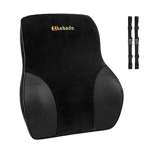 kebado Premium Lumbar Pillow - Full Lumbar Back Support - Two Straps Office Chair Black Car Lumbar Support - Memory Foam Orthopedic Back Pillow - Lumbar Support Cushion