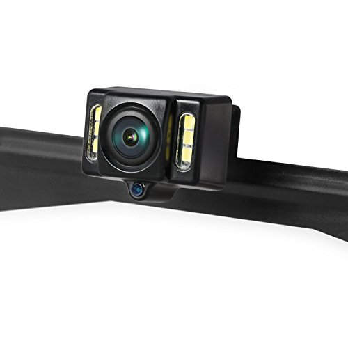 AUTO-VOX Cam1 HD Car Rear View Backup Camera of License Plate for Truck & RV with The Features of IP68 Waterproof High Brightness Light Sensor Night Vision LEDs,Fit All Cars