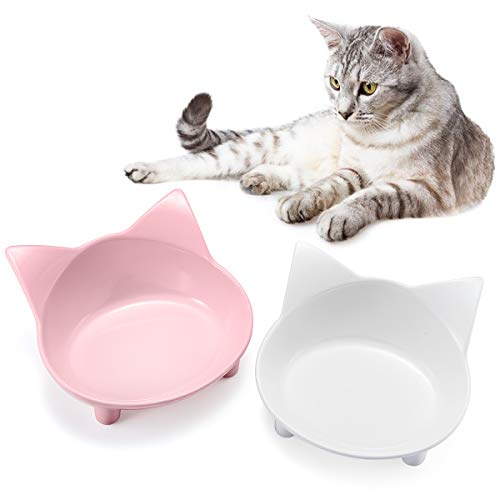 SHU UFANRO Cat Bowls Cat Food Bowl Non Slip Cat Dish Double Cat Feeding Bowls for Whisker Stress Relief Pet Food & Water Bowls 1
