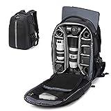 Abonnyc Camera Backpack Fit 2 Pro-Sized DSLR/SLR Camera Bag, 3-6 Lenses, 15.6 inch Laptop for Outdoor Travel with Rain Cover, Black