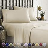 HC COLLECTION Hotel Luxury Comfort Bed Sheets Set, 1800 Series Bedding Set, Deep Pockets, Wrinkle & Fade Resistant, Hypoallergenic Sheet & Pillow Case Set(King, Cream)