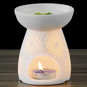 NJCharms Ceramic Tealight Holder Essential Oil Burner Aromatherapy Wax Candle Tart Burner Warmer Diffuser Aroma Candle Warmers Porcelain Decoration for Parlor Bedroom Carved Star Shape White