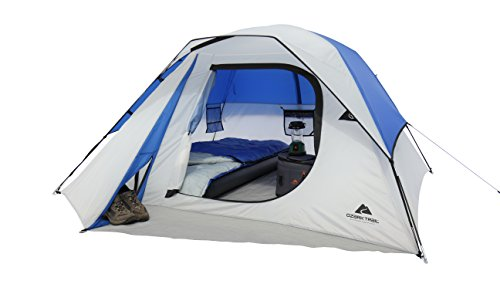 Ozark Trail 4 Person Dome Tent With Power Pocket for Electrical Cord Access,Large Storage Locker,Seam-Taped/Roll Back Rainfly,Media Sleeve,Perfect For Camping,Picnics,Backpacking,Outings,White/Blue