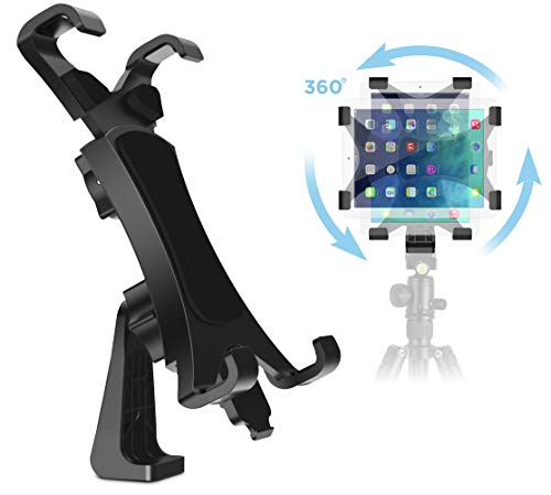 IPOW 360 Degree Rotatable Break-Resistant iPad Tripod Mount Adapter, Universal Tablet Clamp Holder Fits Ipad, Ipad Air, Pro, Mini, Microsoft Surface, Nexus, for Tripod Monopod, Selfie Stick,Tabletop Stand