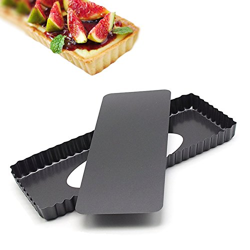 14.4 Inches Removable Loose Bottom Non-Stick Rectangle Tart Pan - 14.4' x 5.9' x 1.2'